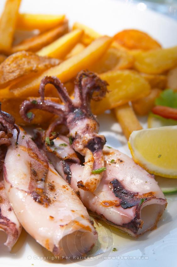 A dish with fried calamares calamari, octopus, ink fish. With chips, French fries, fried potatoes. Hotel and restaurant Kompas. Uvala Sumartin bay between Babin Kuk and Lapad peninsulas. Dubrovnik, new city. Dalmatian Coast, Croatia, Europe.