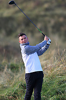 Harry Watkins (Southerndown) on the 12th tee during Round 3 of the Ulster Boys Championship at Portrush Golf Club, Valley Links, Portrush, Co. Antrim on Thursday 1st Nov 2018.<br /> Picture:  Thos Caffrey / www.golffile.ie<br /> <br /> All photo usage must carry mandatory copyright credit (&copy; Golffile | Thos Caffrey)