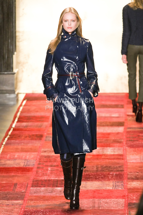 Frida Gustavsson walks runway in an outfit from the Tommy Hilfiger Fall 2011 Bohemian Prep collection, during Mercedes-Benz Fashion Week Fall 2011.