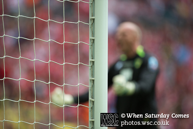 Norwich City 2 Middlesbrough 0, 25/05/2015. Wembley Stadium, Championship Play Off Final. John Ruddy celebrates in front of the Norwich supporters. A match worth £120m to the victors. On the day Norwich City secured an instant return to the Premier League with victory over Middlesbrough in front of 85,656. Photo by Simon Gill.