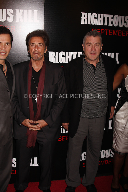 WWW.ACEPIXS.COM . . . . .  ....September 10 2008, New York City....Actors Al Pacino and Robert De Niro at the Premiere of 'Righteous Kill' at the Zeigfeld Theatre on September 10 2008 in New York City....Please byline: AJ Sokalner - ACEPIXS.COM..... *** ***..Ace Pictures, Inc:  ..te: (646) 769 0430..e-mail: info@acepixs.com..web: http://www.acepixs.com
