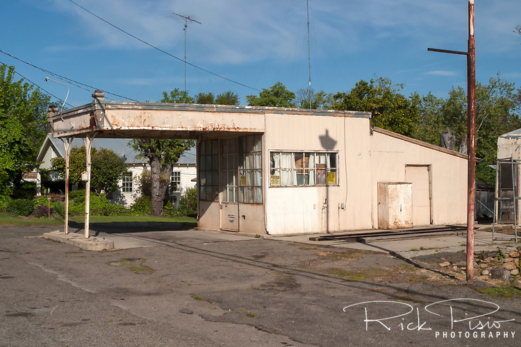 An old gas station along CA Highway 132 in La Grange, California.