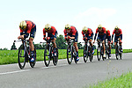 Bahrain-Merida in full flight during Stage 3 of the 2018 Criterium du Dauphine 2018 a Team Time Trial running 35km from Pont de Vaux to Louhans Chateaurenaud, France. 6th June 2018.<br /> Picture: ASO/Alex Broadway | Cyclefile<br /> <br /> <br /> All photos usage must carry mandatory copyright credit (&copy; Cyclefile | ASO/Alex Broadway)