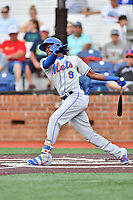 Kingsport Mets Jaylen Palmer (9) swings at a pitch during a game against the Johnson City Cardinals at TVA Credit Union Ballpark on June 28, 2019 in Johnson City, Tennessee. The Cardinals defeated the Mets 7-4. (Tony Farlow/Four Seam Images)