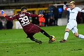 2nd December 2017, Stadio Olimpico Grande Torino, Turin, Italy; Serie A football, Torino versus Atalanta; Salvatore Sirigu tackles Alejandro Gomez