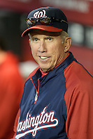 Washington Nationals manager Davey Johnson (5) manages his last game, announcing his retirement, against the Arizona Diamondbacks at Chase Field on September 29, 2013 in Phoenix, Arizona.  Arizona defeated Washington 3-2.  (Mike Janes/Four Seam Images)