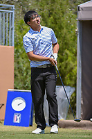 Zecheng Dou (CHN) watches his tee shot on 1 during Round 1 of the Valero Texas Open, AT&amp;T Oaks Course, TPC San Antonio, San Antonio, Texas, USA. 4/19/2018.<br /> Picture: Golffile | Ken Murray<br /> <br /> <br /> All photo usage must carry mandatory copyright credit (&copy; Golffile | Ken Murray)