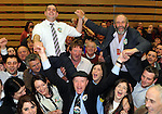 25-05-2014:  Deputy Michael Healy Rae with Cllr Johnny Healy Rae and Cllr Danny Healy Rae in the early hours of Sunday morning  at the election count  in Killarney Sports Centre . Picture: Eamonn Keogh (MacMonagle, Killarney)