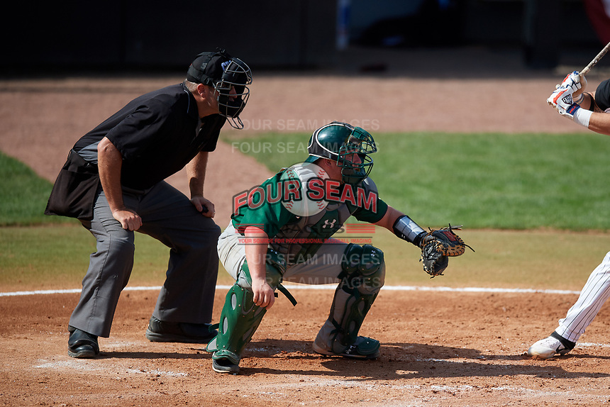 Siena Saints catcher Alex Milone (10) and home plate umpire John Bennett await a pitch during a game against the UCF Knights on February 17, 2019 at John Euliano Park in Orlando, Florida.  UCF defeated Siena 7-1.  (Mike Janes/Four Seam Images)