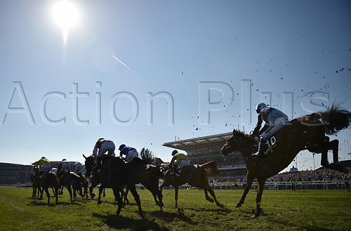 April 8th 2017, Aintree Racecourse, Liverpool, England; Randox Health Grand National Festival Horse racing, Grand National Day; The horses clear the fence in front of the crowds in the Betware Handicap Chase