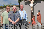 Jimmy O'Shea (sculptor), Martin Hickey and Cllr Anthony Curtin at the Convent.Cross Calvary statue on Thursday June 21st, where St John has been replaced after its.desecration a number of weeks ago, thanks to the fundraising efforts of Martin and the.generous support of the community.