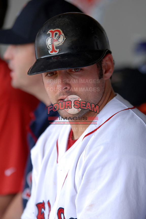 Catcher Mike McKenry #5 of the Pawtucket Red Sox during a game versus the Toledo Mud Hens on May 3, 2011 at McCoy Stadium in Pawtucket, Rhode Island. Photo by Ken Babbitt /Four Seam Images