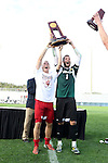 09 December 2012: Indiana captains Caleb Konstanski (left) and Luis Soffner (1) raise the championship trophy overhead. The Georgetown University Hoyas played the Indiana University Hoosiers at Regions Park Stadium in Hoover, Alabama in the 2012 NCAA Division I Men's Soccer College Cup Final. Indiana won the game 1-0.