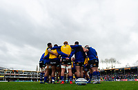 The Bath Rugby forwards huddle together during the pre-match warm-up. Gallagher Premiership match, between Bath Rugby and Harlequins on March 2, 2019 at the Recreation Ground in Bath, England. Photo by: Patrick Khachfe / Onside Images