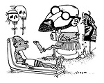 (An African tribesman consults a native psychiatrist who is wearing a Sigmund Freud mask)