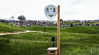 View from the 10th to the 9th with new Ryder Cup signage during Round Two of the 100th Open de France, played at Le Golf National, Guyancourt, Paris, France. 01/07/2016. Picture: David Lloyd | Golffile.<br /> <br /> All photos usage must carry mandatory copyright credit (&copy; Golffile | David Lloyd)