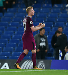 Kevin De Bruyne of Manchester City celebrates at the end of the premier league match at the Stamford Bridge stadium, London. Picture date 30th September 2017. Picture credit should read: Robin Parker/Sportimage