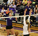 SIOUX FALLS, SD - OCTOBER 4:  Samantha Lovell #17 from the University of Sioux Falls winds up for a kill against Lauren Dunkle #9 from Minot State during their game Saturday afternoon at the Stewart Center. (Photo/Dave Eggen/Inertia)