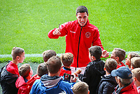 Fleetwood Town's Bobby Grant signs autographs before the game<br /> <br /> Photographer Alex Dodd/CameraSport<br /> <br /> The EFL Sky Bet League One - Fleetwood Town v Accrington Stanley - Saturday 15th September 2018  - Highbury Stadium - Fleetwood<br /> <br /> World Copyright &copy; 2018 CameraSport. All rights reserved. 43 Linden Ave. Countesthorpe. Leicester. England. LE8 5PG - Tel: +44 (0) 116 277 4147 - admin@camerasport.com - www.camerasport.com