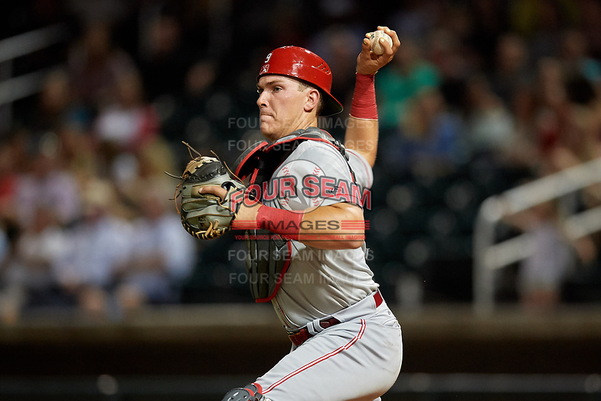 Chattanooga Lookouts catcher Tyler Stephenson (9) throws to third base during a Southern League game against the Birmingham Barons on May 2, 2019 at Regions Field in Birmingham, Alabama.  Birmingham defeated Chattanooga 4-2.  (Mike Janes/Four Seam Images)
