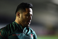 Manu Tuilagi of Leicester Tigers looks on during the pre-match warm-up. European Rugby Champions Cup match, between Leicester Tigers and Munster Rugby on December 17, 2017 at Welford Road in Leicester, England. Photo by: Patrick Khachfe / JMP