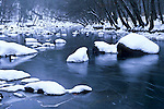 Snowy rocks and the Eno River, Eno River State Park, North Carolina