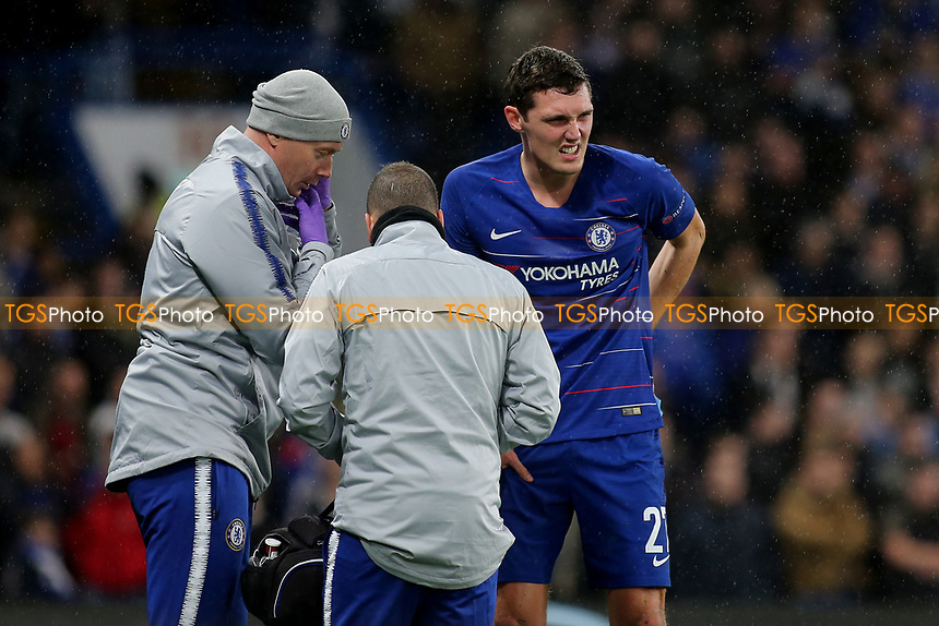 Andreas Christensen of Chelsea suffered an injury in the second half, but returned to the field of play after treatment  during Chelsea vs PAOK Salonika, UEFA Europa League Football at Stamford Bridge on 29th November 2018