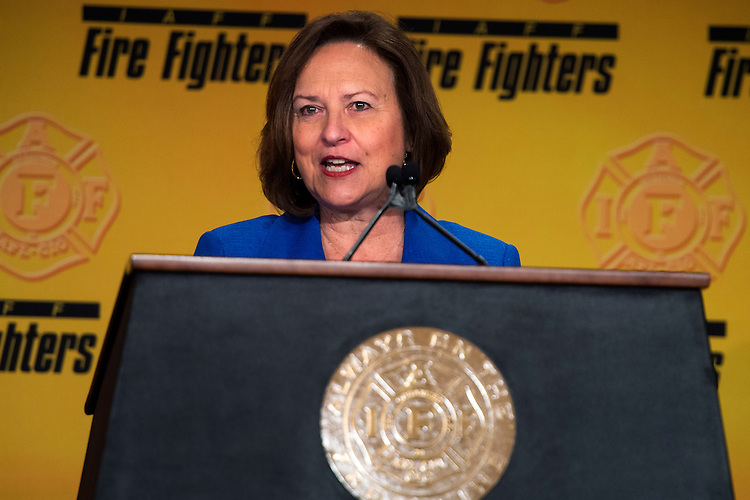 UNITED STATES - MARCH 09: Sen. Deb Fischer, R-Neb., speaks during the International Association of Fire Fighters Legislative Conference General Session at the Hyatt Regency on Capitol Hill, March 9, 2015. The day featured addresses by members of Congress and Vice President Joe Biden. (Photo By Tom Williams/CQ Roll Call)