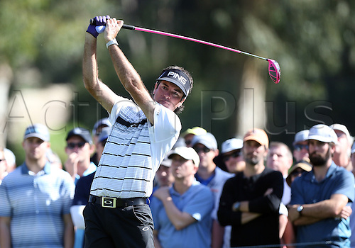 20.02.2016. Pacific Palisades, California, USA.  Bubba Watson hits a tee shot during the third round of the Northern Trust Open at Riviera Country Club in Pacific Palisades, CA.