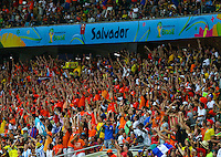 Netherlands supporters cheer their side on inside the Arena Fonte Nova, Salvador