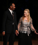 Jesse L. Martin & Meryl Streep.pictured during Curtain Call for the Public Theater Celebrates 50 Years at the Delacorte Theater with a Benefit Reading of ''Romeo And Juliet'  in Central Park, New York City on June 18, 2012