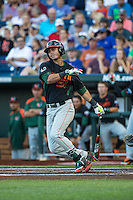 Brandon Lopez (51) of the Miami Hurricanes bats during a game between the Miami Hurricanes and Florida Gators at TD Ameritrade Park on June 13, 2015 in Omaha, Nebraska. (Brace Hemmelgarn/Four Seam Images)