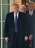 United States President Donald J. Trump, followed by US Vice President Mike Pence and US House Minority Leader Kevin McCarthy (Republican of California), emerges from the Oval Office to make a statement following his meeting with Democratic leaders in the Situation Room of the White House in Washington, DC in an effort to break the political impasse on border security and reopen the federal government on Friday, January 4, 2018.  The President also took questions from reporters.<br /> Credit: Ron Sachs / CNP