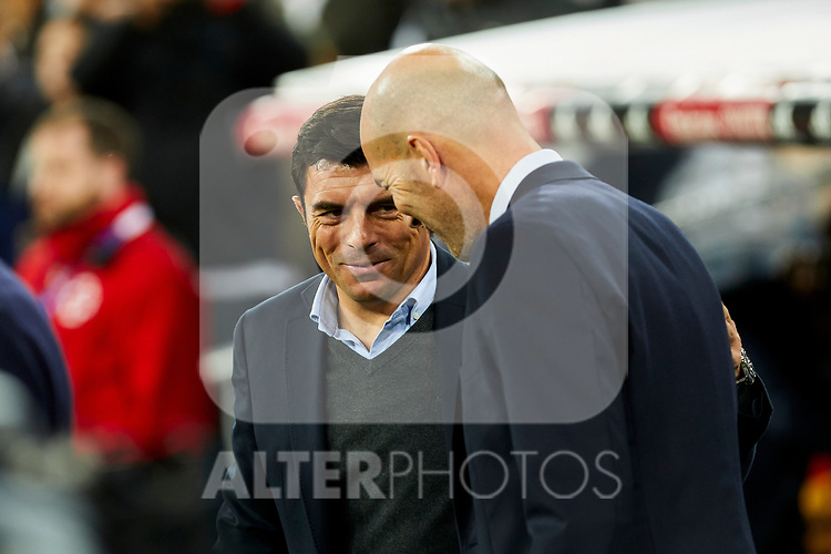Zinedine Zidane coach of Real Madrid and Luis Cembranos coach of CD Leganes during La Liga match between Real Madrid and CD Leganes at Santiago Bernabeu Stadium in Madrid, Spain. October 30, 2019. (ALTERPHOTOS/A. Perez Meca)