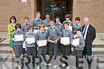 The First Year Award Winners at CBS, the Green, Tralee on Monday. Pictured are students who won awards for academics, pupil of the year, sports and for attendance and punctuality. Front row, from left: Cathal Hannafin, Sean Cahill, Tom Healy, Toma?s O'Connor, Simon Draghici and Ross Mansfield. Back row: Liz Doyle (First Year, Deputy Year Head), Oliver Frank, Cillian O'Riordan, Ryan Leonard, Tommy Lynch, Mathew Green, Niall O'Mahoney and Damien McLaughlin( First Year, Year Head)