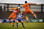 First-half action showing the home team pressing for an equalising goal as Coleraine (in blue) played Spartak Subotica of Serbia in a Europa League Qualifying First Round second leg at the Showgrounds, Coleraine. The hosts from Northern Ireland had drawn the away leg 1-1 the previous week, however, the visitors won the return leg 2-0 to progress to face Sparta Prague in the next round, watched by a sell-out crowd of 1700.