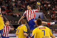 28.04.2012 MADRID, SPAIN -  EHF Champions League match played between BM At. Madrid vs  Cimos Koper (31-24) at Palacio Vistalegre stadium. The picture show Kiril Lazarov (BM Atletico de Madrid)