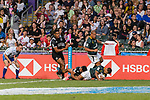 Dewald Human of South Africa (R) scores goal during the HSBC Hong Kong Sevens 2018 Bronze Medal Final match between South Africa and New Zealand on 08 April 2018 in Hong Kong, Hong Kong. Photo by Marcio Rodrigo Machado / Power Sport Images