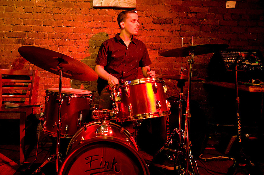 Eron Fink, drummer for Gypsy Trane at The Cupping Room in Soho, NYC. Friday, June 29, 2012.