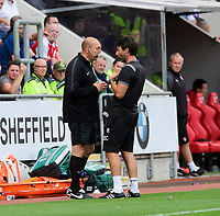Lincoln City manager Danny Cowley speaks to fourth official David Plowright<br /> <br /> Photographer Chris Vaughan/CameraSport<br /> <br /> The EFL Sky Bet Championship - Rotherham United v Lincoln City - Saturday 10th August 2019 - New York Stadium - Rotherham<br /> <br /> World Copyright © 2019 CameraSport. All rights reserved. 43 Linden Ave. Countesthorpe. Leicester. England. LE8 5PG - Tel: +44 (0) 116 277 4147 - admin@camerasport.com - www.camerasport.com