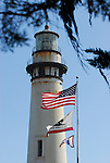 Pigeon Point Lighthouse and flags