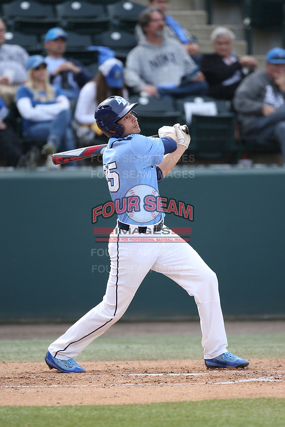 Roman Garcia (35) of the University of San Diego Toreros bats against the UCLA Bruins at Jackie Robinson Stadium on March 4, 2017 in Los Angeles, California.  USD defeated UCLA, 3-1. (Larry Goren/Four Seam Images)