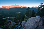 sunrise light on (LtoR) Mount Meeker, Longs Peak and Mount Lady Washington above Tahosa Valley near Estes Park, Rocky Mountains, Colorado, USA