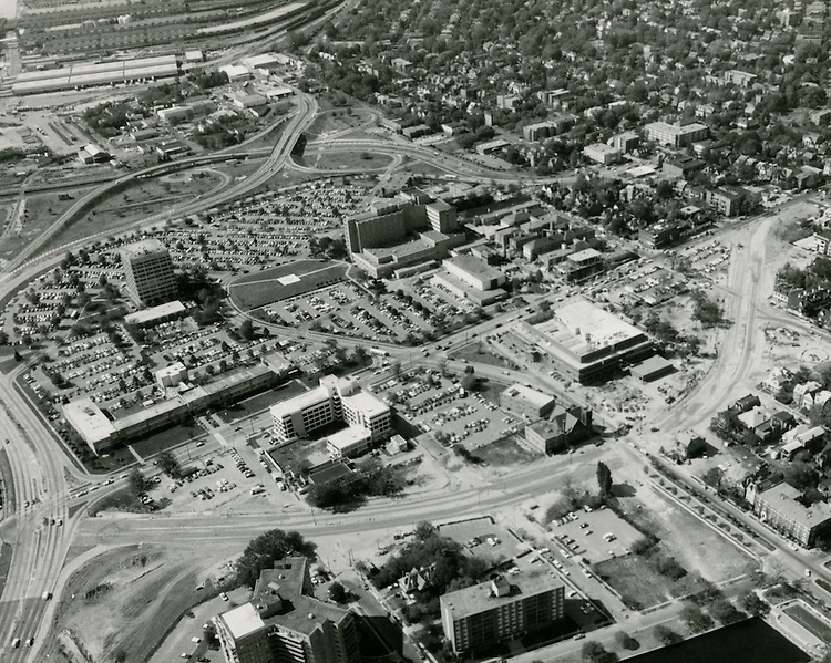 UNDATED..Redevelopment.Atlantic City (R-1)..View of EVMS Medical School campus.Norfolk General Hospital.Rerouting of Colley Avenue under construction...NEG#.NRHA#..