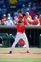 Philadelphia Phillies second baseman Andrew Romine (28) at bat during a Grapefruit League Spring Training game against the Baltimore Orioles on February 28, 2019 at Spectrum Field in Clearwater, Florida.  Orioles tied the Phillies 5-5.  (Mike Janes/Four Seam Images)