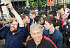 Jeremy Corbyn Rally <br /> Parliament Square, Westminster, London, Great Britain <br /> 27th June 2016 <br /> <br /> Jeremy Corbyn's son Sebastian following him back into Parliament <br /> <br /> Photograph by Elliott Franks <br /> Image licensed to Elliott Franks Photography Services