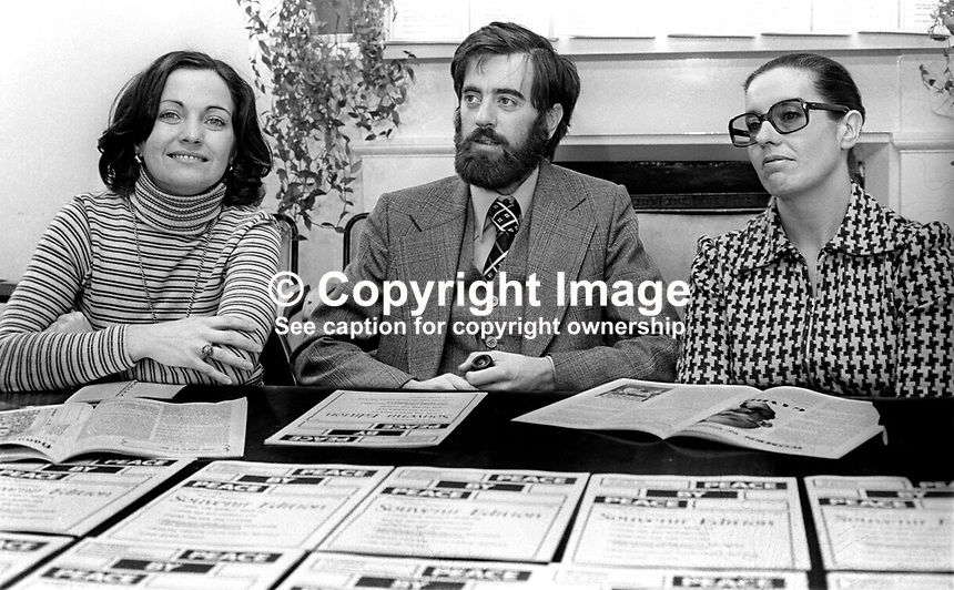 Peace People leaders (from left) Mairead Corrigan, Ciaran McKeown and Betty Williams at a Press Conference in Belfast, N Ireland, UK, on 15th October 1976 announce the launch of a new magazine, Peace by Peace. 197610150435a<br />