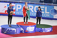 "SHORT TRACK: MOSCOW: Speed Skating Centre ""Krylatskoe"", 14-03-2015, ISU World Short Track Speed Skating Championships 2015, Podium Ladies 1500m, Suk Hee SHIM (KOR), Arianna FONTANA (ITA), Minjeong CHOI (KOR), ©photo Martin de Jong"