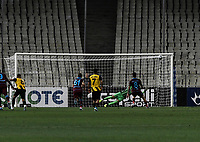 Trabzonspor's José Sosa miss a penalty kick as the ball went to crossbar during of the UEFA Europa League play-off, 1st leg, soccer match between AEK Athens FC and Trabzonspor at the OAKA Spyros Louis Stadium in Athens, Greece on August 22, 2019.