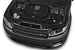 Car Stock 2015 Land Rover RANGE ROVER SPORT HSE Dynamic 5 Door SUV Engine high angle detail view
